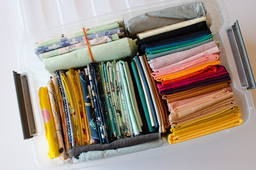 Folded fabric organization example
