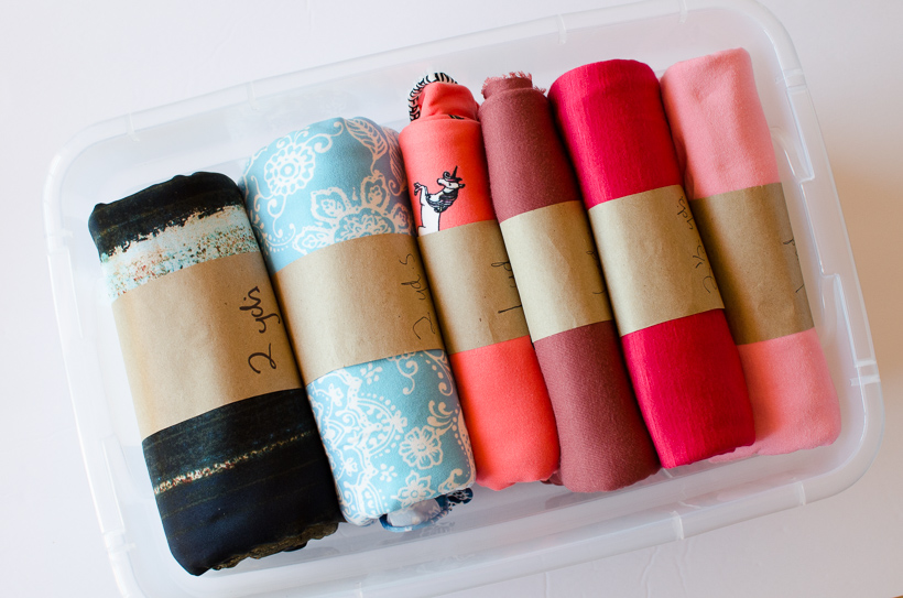 rolled knit fabric organization
